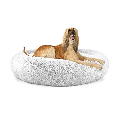 The Dog's Bed Sound Sleep Donut Dog Bed, XL Ice White Plush Removable Cover...