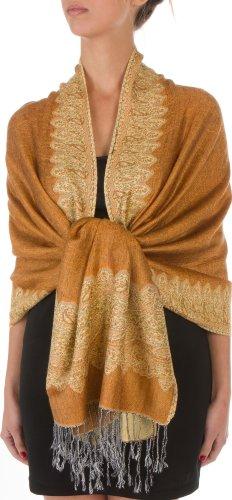 Sakkas Border Pattern Layered Reversible Woven Pashmina Shawl Scarf Wrap Stole - Dark Goldenrod
