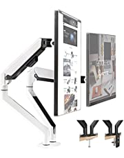 HEYMIX Aluminum Adjustable Computer Monitor Stand Vertical bar air Spring Screen Stand Black&White