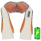 Elektrische Nackenmassagegeräte Kabellos mit Wärmefunktion, MELOPHY Nackenmassagegerät mit Akku, Massagegerät für Nacken 3D Rotation Masseur, Muskel Schmerzlinderung zu Hause Büro, Ideal als Geschenk