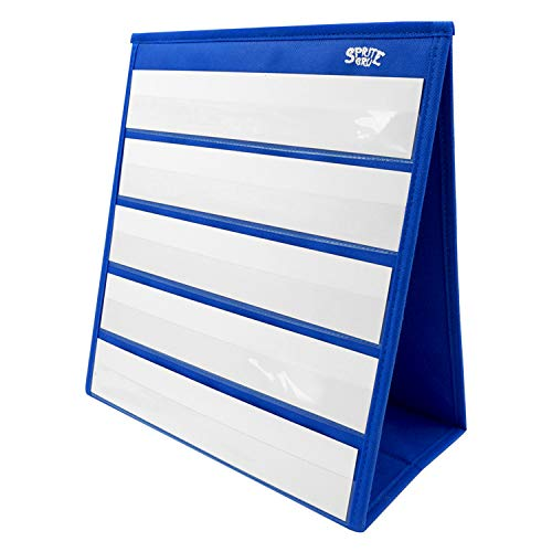 Blue Tabletop Desktop Pocket Chart with Bonus 20X Dry Erase Cards. Double Sided and Self-Standing (13 X 12inch)