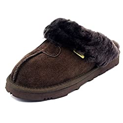 Sheepskin slipper with genuine suede leather