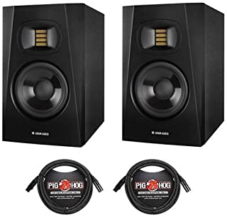 """Adam Audio 2 Pack Professional T-Series T5V 5"""" 70W 2-Way Active Nearfield Monitor, Single - With 2 Pack 15' 8mm XLR Microphone Cable"""