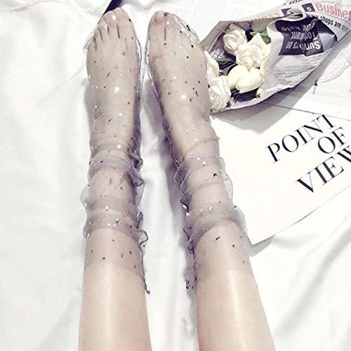 Jinxuny dames meisjes kant mesh ultradunne sokken mode zijdekousen transparant, 1 paar sexy glitter ster mesh sokken zachte gaas zichtbare sokken
