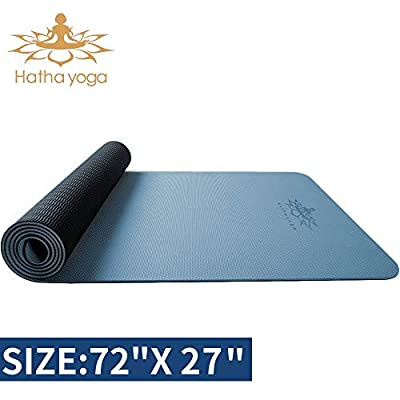 """Hatha yoga PRO TPE Yoga Mat - 72""""x 32"""" Thickness 1/4 inch -Eco Friendly SGS Certified -Non Slip Bolster with Carrying Bag for Home Gym, Pilates & Floor Outdoor Exercises"""