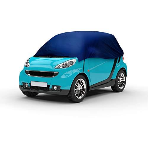 ECD Germany Funda Media Garaje - 214x146x55 cm - Lona para Coche - Transpirable - Cubierta con Bandas Elásticas - Semicubierta para Protección de Auto - Resistente a los Rayos UV - Ideal para Smart
