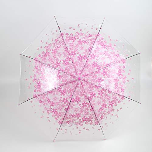 Modieuze machine, bedrukt, kersenpatroon, paraplu, recht, botkleur, paraplu, voor volwassenen, paraplu, roze