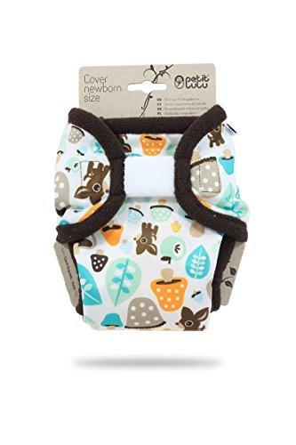 Petit Lulu Neugeborenen Überhose (2-6 kg) für Stoffwindeln Klett (Tiere und Pilze)