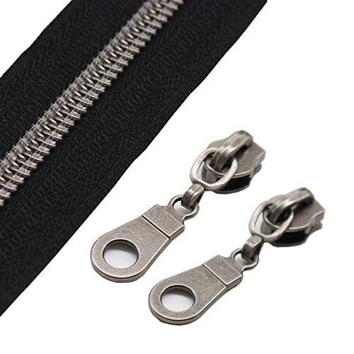 YaHoGa #5 Gunmetal Metallic Nylon Coil Zippers by The Yard Bulk Black Tape 10 Yards with 25pcs Sliders for DIY Sewing Tailor Craft Bag (Black)