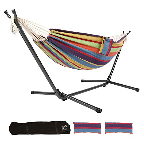 ONCLOUD Double Hammock with 9 FT Stand Space Saving, Hammock Stands Heavy Duty Includes Portable Carrying Case Two Pillows for Outdoor or Indoor (Rainbow)