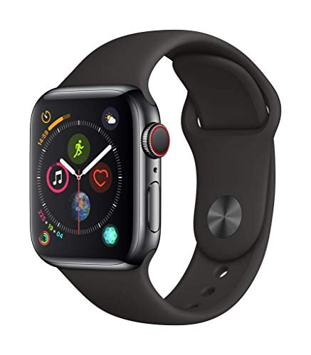 Apple Watch Series 4 (GPS + Cellular) cassa 40 mm in acciaio inossidabile nero siderale e cinturino Sport nero