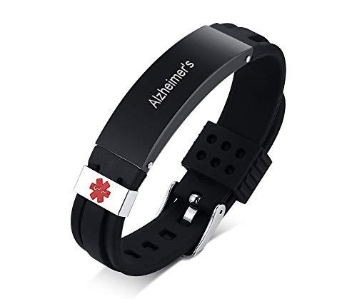 PJ JEWELLERY Personalisierte Alzheimer Silikon Comfort Sport Medical Armband Notfall Gummi Medical Alert ID Armband für Männer einstellbar