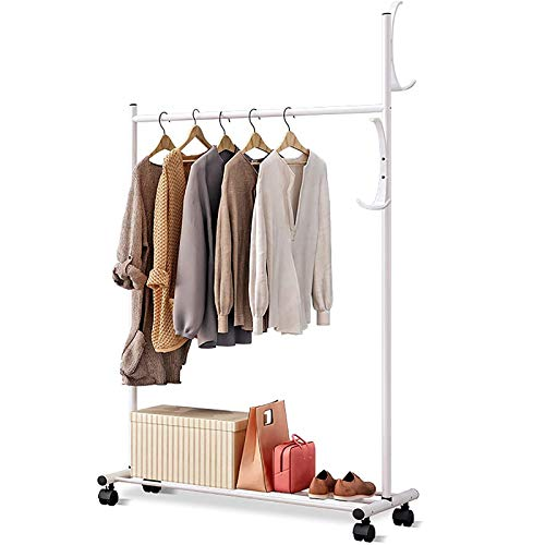 LOVEHOUGE Clothes Rack 3-In-1 Coat Rack Rolling Garment Rack with Bottom Shelves, 2 Side Hooks, Lockable Wheels, Rolling Closet Organizer