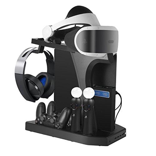 DACCKIT Soporte Vertical de Carga y visualización para Playstation VR – Controladores estación de Carga Showcase con Ventilador de refrigeración Compatible con Playstation 4, PS4 Pro, PS4 Slim