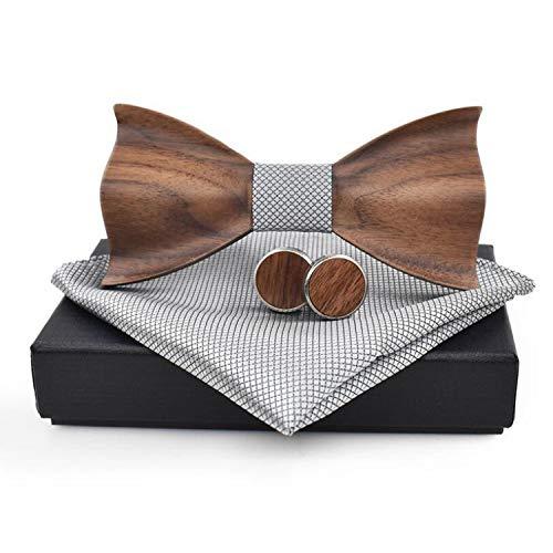 Juego de gemelos de madera hechos a mano con pajarita 3D para hombre, diseño de pajarita de madera, con caja para hombres y bodas
