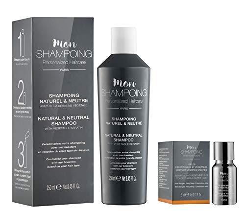 Mon Shampoing - Duo Shampoing Naturel - Cheveux Colorés - Sans SLS/Sans Paraben/Sans Silicone - Huiles Essentielles & Vég. Orange - Ylang Ylang - Li Alba - convient pour Lissage/Extension. 250ml + 5ml