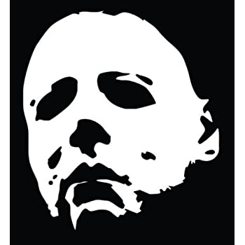 Laptops White A/&B Trader/'s Car Decals Michael Myers Creepy Half Face 5.8 White Vinyl Decals Scary Horror Movies Creepy Halloween Stickers for Cars