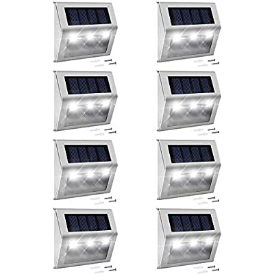 JACKYLED Solar Step Lights Outdoor Lighting 8 Pack