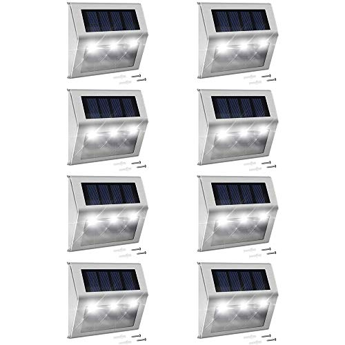 Solar Step Lights with Larger Battery Capacity JACKYLED 8-Pack Stainless Steel Bright 3 LED Solar Powered Deck Lights Weatherproof Outdoor Lighting for Steps Stairs Decks Fences Paths Patio Pathway