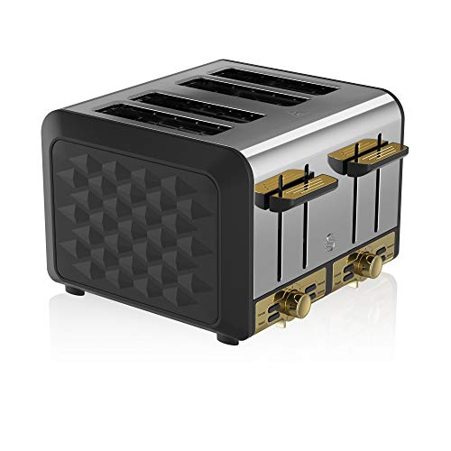 Swan Gatsby Black and Gold 4-Slice Toaster, Variable Electronic Browning Controls, Matte Black with Diamond Pattern Design and Gold Accents, ST14084BLKN