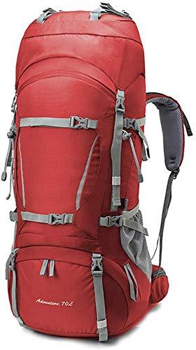 WYJW 80L outdoor wandelrugzak met ergonomische campingwandeltas voor mannen en vrouwen - met regenhoes + wandelstok