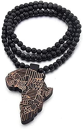 Collar de cuentas redondas de madera natural hecho a mano elástico mapa de África grabado DIY collares Vintage mujeres africanas fiesta Rock Pop joyería collar