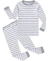 Family Feeling Striped Big Boys Long Sleeve Pajamas Sets 100% Cotton Pyjamas Kids Pjs Size 12 Grey White