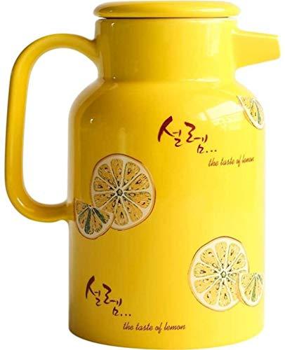 Céramique bouilloire gaz Teapot haute température Résistance Pitcher for le jus de thé Jus d'eau froide en verre 1500ml Teakettle Jaune UOMUN