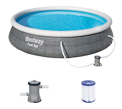 Bestway Fast Set Pool 396x396x84 cm, Gartenpool Set selbstaufbauend mit aufblasbarem Luftring, rund, mit Filterpumpe und Filterkartusche