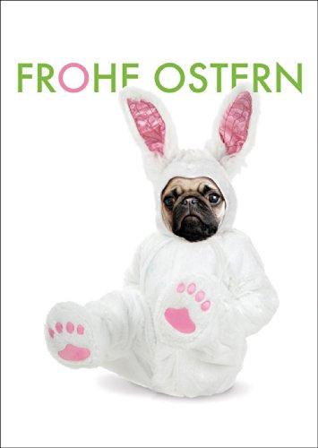 Komische Osterkarte mit Mops im Osterhasenkostüm: Frohe Ostern • fröhliches Ostermotiv als hochwertige Oster Grüße im Set mit Umschlägen zum Osterfest als Geschenkkarte