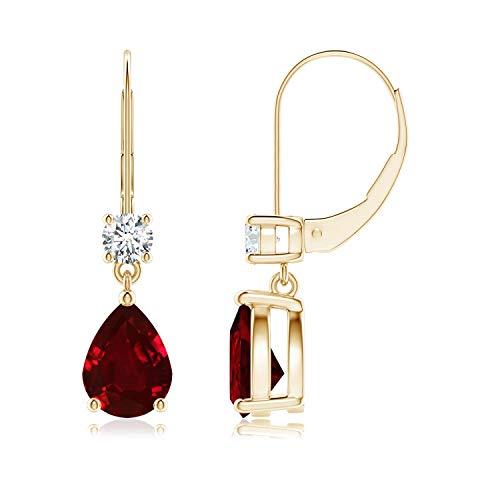 Singles Day Sale - Orecchini pendenti a monachella con rubino a pera con diamante in oro giallo 14 carati (8 x 6 mm rubino)