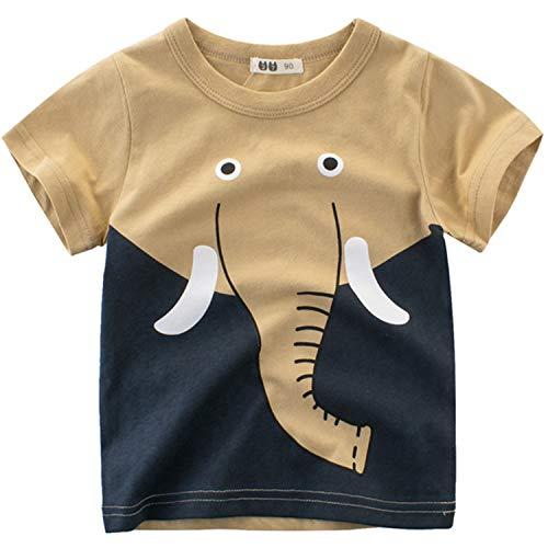 Oyoden Camisetas Manga Corta Niño Dibujos Animados Tops Bebé Verano Algodón Blusa 1-7 Años(1-2 años, Caqui)