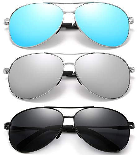 Polarized Aviator Sunglasses for Men and WomenUV400 Protection Mirrored Lens Metal Frame with Spring Hinges