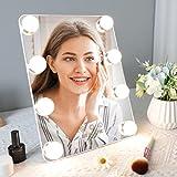 Hollywood Espejo de Maquillaje de Mesa, Espejo Tocador con Luces, Espejo de Belleza Portátil, Espejo de Viaje, con 8 Luces LED de Maquillaje (Blanco)