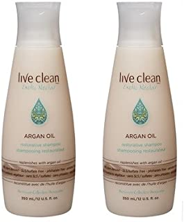 Live Clean Exotic Nectar Argan Oil Restorative Shampoo (Pack of 2) with 100% Pure Argan Oil, Grape Seed Oil and Olive Oil, 12 oz