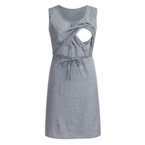 Yuelie - Vestido de Lactancia para Mujer, Informal, sólido, Vestido de Lactancia, Pijama de Maternidad, Vestido de Noche Gris Gris XL