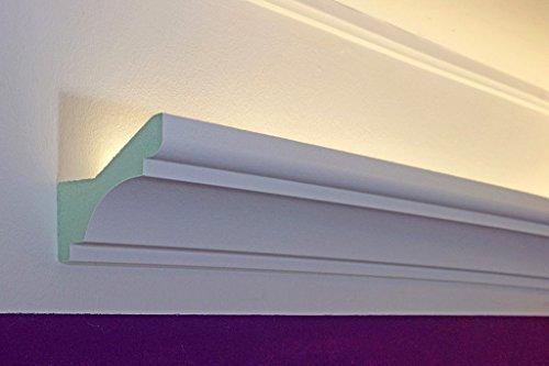 Klassiek LED stucprofiel - lichtspot stuclijst voor indirecte verlichting plafond gemaakt van hardschuim DBKL-82-PR van Bendu