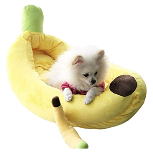 Cages Cat House Banana Boat Model Cat Nest Cat Climbing Frame Cat Supplies Plush Bed Warm Kennel Toy Gift (Color :Yellow, Size :51 * 25 * 13cm)
