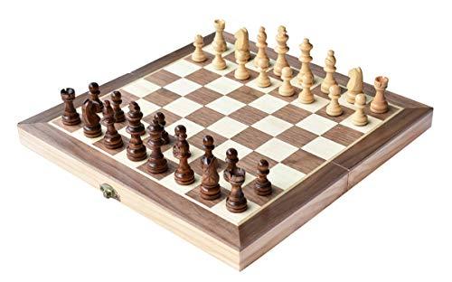 HOWADE Ajedrez 12 'x12 pulgadas juego de tablero de madera juego de ajedrez magnético hecho a mano piezas de ajedrez viajar juegos de mesa internacionales