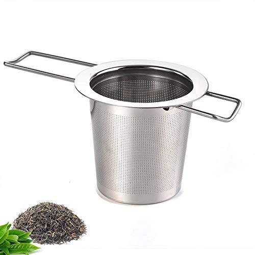 Theezeef met lang opvouwbare greep, 304 roestvrij stalen theefilter voor losse thee, premium zeef, theezeef geschikt voor de meeste theekopjes en theekommen (zilver)
