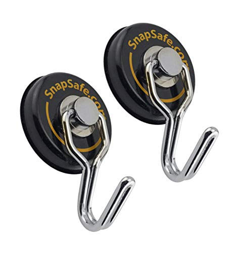 SnapSafe Magnetic Swivel Hooks 2 Pack, 75914 - Round Magnets with Swivel Hook Design Rated for 65 Pounds - Heavy Duty Magnets to Securely Organize Your Gear, Gun Case, Binoculars, Range Bags, & More