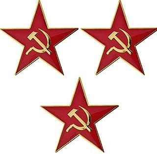 Paquete de 3 x Insignias metálicas socialistas marxistas socialistas marxistas de Hammer and Sickle Red Star