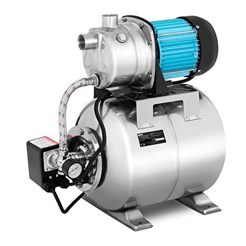Hillvert Groupe Hydrophore Surpresseur Pompe De Surface Autoamorçante Automatique Étang Puits Domestique HT-ROBSON-JP1000CS (1 000 W, 3 100 l/h, Prof. max. 9 m, Distance max. 44 m, Réservoir 19 l)