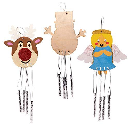 Baker Ross AW958 Holz Windspiele Weihnachten (4 Stück) -Festliches Basteln für Kinder, Sortiert
