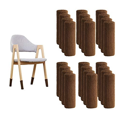 Chair Socks, Knitting Chair Leg Floor Protectors No Slipping Scratch Noise Elastic Furniture Feet Cover Washable Reusable for Tile Wood Ceramic Floor (24 Pcs, Coffee)