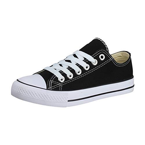 Elara Unisex Sneaker Low top Turnschuh Textil Chunkyrayan 01-A P YD3230-Schwarz-41