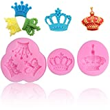 lmmak 3 Pcs Royal Crown King Queen Silicone Mold for Baking Chocolate Candy Cake Cupcake Decoration Jelly Ice Cube Soap Gummy Crayons Lollipop Gum Paste Polymer Clay