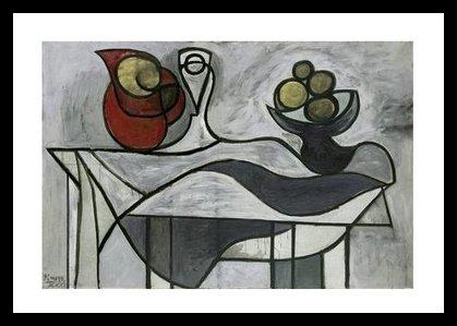 Germanposters Pablo Picasso Krug und Obstschale Poster Kunstdruck Bild im Holz Rahmen in Schwarz 80x60cm