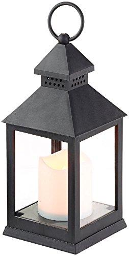 Lanterne LED à piles effet flamme vacillante - Noire [Lunartec]
