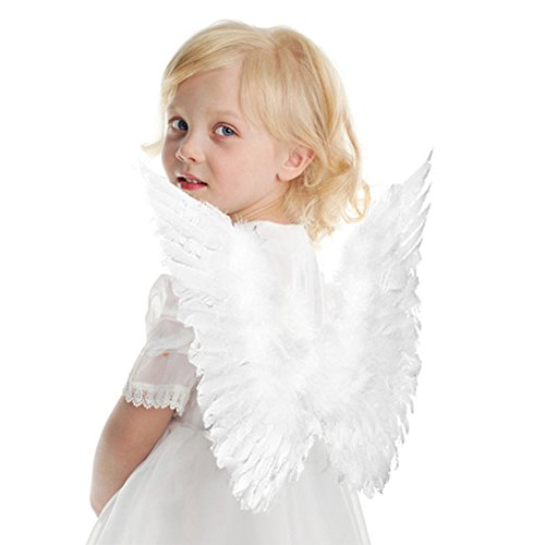 Interlink-UK Engelsflügel Karneval Kostüm Feder Flügel für Kinder 45 * 35 cm Weiß